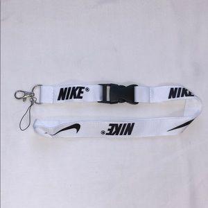 New Nike White and Black Lanyard ID Badge Keychain